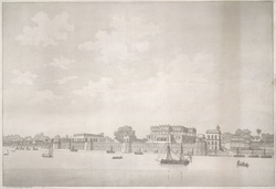 'View of the palace at Ghazipore'.  Aquatint, drawn and engraved by James Moffat, published Calcutta 1804.